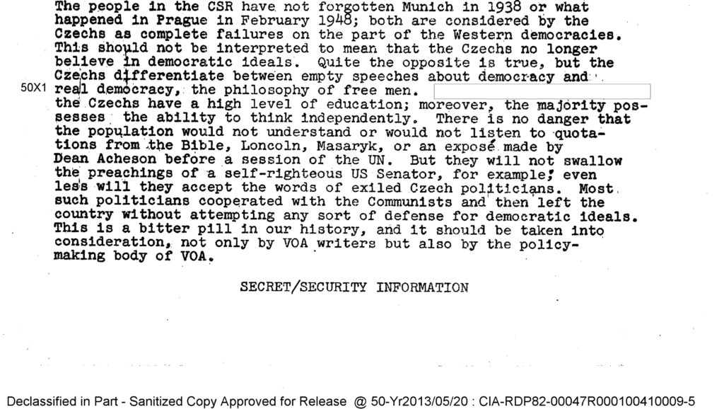 1953 CIA Source: People Died in Czechoslovakia Because of