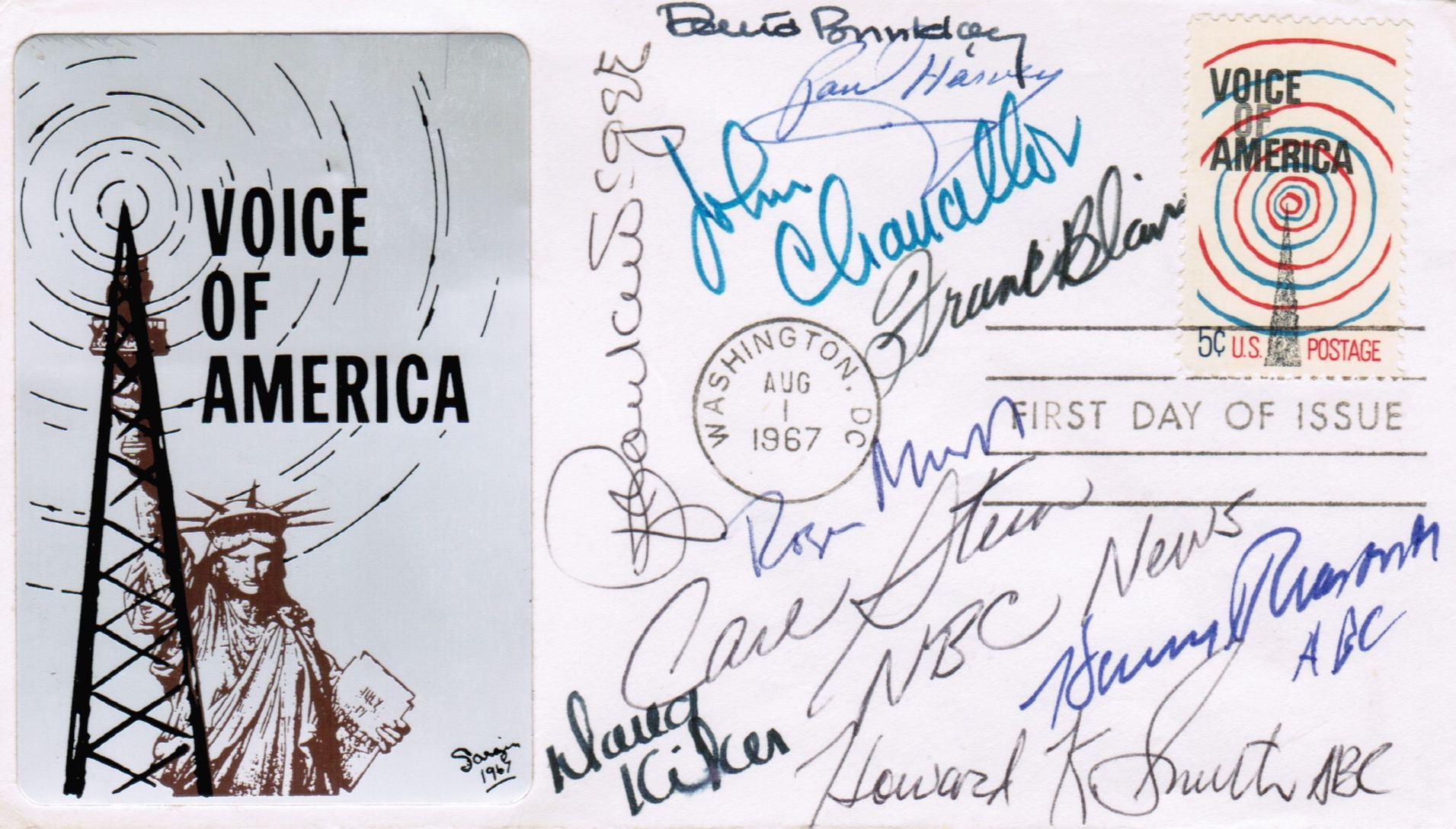 VOA 1967 First Day of Issue Cover with U.S. Reporters Autographs
